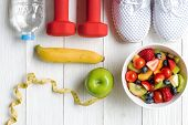 Diet And Weight Loss For Healthy Care With  Fitness Equipment, Fresh Water And Fruit Healthy, Green  poster