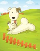Illustration of a dog unearthing a huge bone - EPS VECTOR format also available in my portfolio.