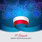 November 11, Poland Independence Day, Vector Template Of The Polish Flag. National Holiday. Blue Bac poster