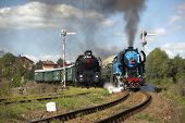 steam trains from Krupa station, steam locomotive called Parrot 477.043 and locomotive 464.102, Czech Republic