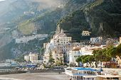 picture of foreshortening  - foreshortening view of the beautiful Amalfi in the south of Italy