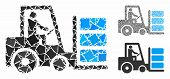 Forklift Composition Of Raggy Pieces In Different Sizes And Color Tones, Based On Forklift Icon. Vec poster