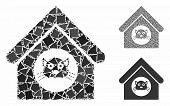 Cat House Mosaic Of Joggly Pieces In Various Sizes And Color Tones, Based On Cat House Icon. Vector  poster