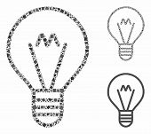 Hint Lamp Mosaic Of Tuberous Parts In Various Sizes And Color Tones, Based On Hint Lamp Icon. Vector poster