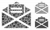 Open Mail Composition Of Abrupt Items In Variable Sizes And Color Tones, Based On Open Mail Icon. Ve poster