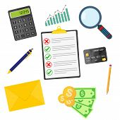 Set Of Elements Of The Business Accounting. Vector Illustration. Accounting, Conceptual Icons In Fla poster