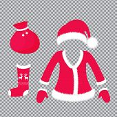 Santa Claus Outfit And Accessories - Hat With Fluffy Pom Pom, Suit, Mittens, Sock With Deer, Bag Wit poster