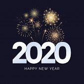 Happy New Year 2020 Greeting Card Design. 2020 Text With Festive Fireworks Explosions Isolated On Da poster