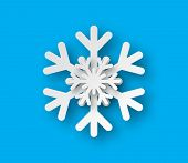 Vector Origami Snowflake. Paper Snowflake Isolated. Christmas Paper Cut Snowflake With Shadow. poster