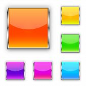 Set Of Square Vector Buttons. Blank Web Glossy Buttons. Colored Bright Buttons Isolated. poster