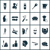 Glamour Icons Set With Solarium, Model Girl, Face Oil And Other Shaver Elements. Isolated Vector Ill poster