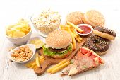 assorted of fast food, junk food, american food poster