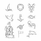 Ocean Themed Hand Drawn Illustrations Set. Sea Fauna And Sailing Attributes Thin Line Symbols Pack.  poster