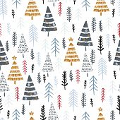 Winter Seamless Pattern With Christmas Trees, Spruce Woods On White Background. Surface Design For T poster