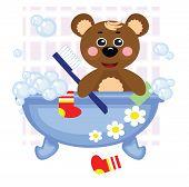 Teddy bear showering in bath, vector.