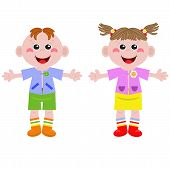Funny little girl and boy
