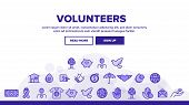 Volunteers, Charity Vector Thin Line Icons Set. Volunteering, Charitable Organizations Logo Linear P poster