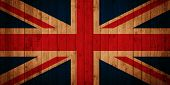 Union Jack flag on wooden panels