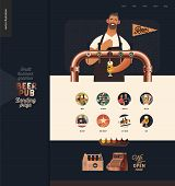 Brewery, Craft Beer Pub -small Business Illustrations -landing Page Design Template -modern Flat Vec poster
