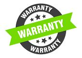 Warranty Sign. Warranty Black-green Round Ribbon Sticker poster