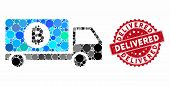 Mosaic Bitcoin Delivery Lorry And Rubber Stamp Seal With Delivered Text. Mosaic Vector Is Composed W poster