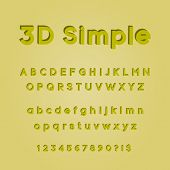 3d Simple, 3d Font, 3d Alphabet, 3d Text poster
