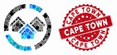 Collage Realty Diagram And Rubber Stamp Seal With Cape Town Caption. Mosaic Vector Is Designed With  poster