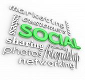 The word Social and related terms in 3D such as customers, friendship, community, networking, marketing, business, photos, sharing and career