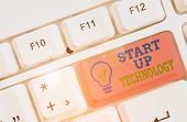 Text Sign Showing Start Up Technology. Conceptual Photo Young Technical Company Initially Funded Or  poster