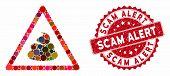 Mosaic Shit Warning And Grunge Stamp Seal With Scam Alert Text. Mosaic Vector Is Formed With Shit Wa poster