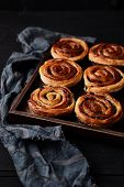 Fresh Danish Pastry With Raisins On Wood Background.tasty Sweet Bakery. poster