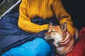 Girl Hug Resting Dog Together In Campsite, Close Up Portrait Red Shiba Inu Sleeping In Camp Tent , H poster