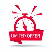 Red Limited Offer With Clock For Promotion, Banner, Price. Label Countdown Of Time For Offer Sale Or poster