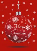 Christmas Bauble Vector With Snowflakes, Silver Hanger And Christmas Greetings On Red Background. Us poster