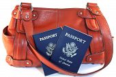 Passports With Orange Purse