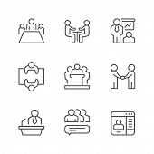 Set Line Icons Of Meeting Isolated On White. Company Teamwork, Business Presentation, Partner Handsh poster