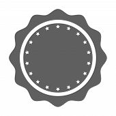 Stamp Blank Without Text Graphic Icon. Simple Gray Circle Stamp With Stars. Post Stamp. Vector Illus poster