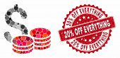Mosaic Cash And Rubber Stamp Seal With 20 Percent Off Everything Phrase. Mosaic Vector Is Created Wi poster
