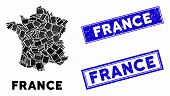 Mosaic France Map And Rectangle Rubber Prints. Flat Vector France Map Mosaic Of Randomized Rotated R poster