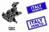 Mosaic Veneto Region Map And Rectangular Stamps. Flat Vector Veneto Region Map Mosaic Of Randomized  poster