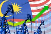 Malaysia Oil Industry Concept, Industrial Illustration - Growing Graph On Malaysia Flag Background.  poster