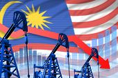 Malaysia Oil Industry Concept, Industrial Illustration - Lowering, Falling Graph On Malaysia Flag Ba poster