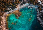 Anthony Quinn Bay. The Most Beautiful Beach At Rhodes Island. Birds Eye View From Above, Rocks, Clea poster
