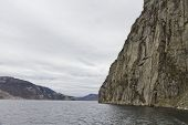 Steep Rock At Coast In Norway