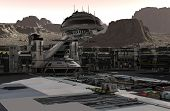 Mars Colony. Expedition On Alien Planet. Life On Mars. 3d Illustration poster