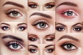 Collage Of Womens Eyes With Long Eyelashes poster