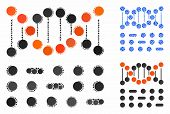 Genetic Code Mosaic Of Round Dots In Variable Sizes And Shades, Based On Genetic Code Icon. Vector D poster