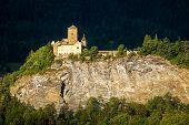 Landscape With Old Castle In Sunset Light, Switzerland. Scene Of Swiss Alpine Terrain. Vintage Mansi poster