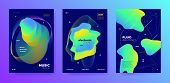 Purple Music Party. Futuristic Lines. Club Festival. Colorful Abstract Presentation. Neon Music Bann poster