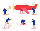 Repair And Maintenance Of Aircraft Set. Mechanic Engineers Repairing And Inspecting Airplane Pumping poster
